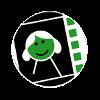 Filmrollensymbol mit einem Gesicht