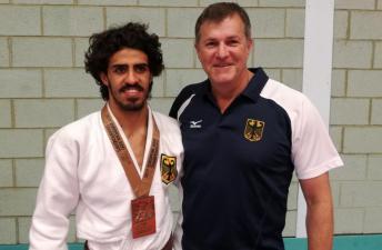 Das Foto zeigt Shugga Nashwan und Markus Zaumbrecher, Hess. Landestrainer SG-Judo (HBRS) und Bundestrainer Nachwuchs bis U21 SG-Judo (DBS)