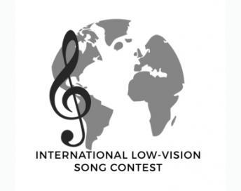 Das Logo des Low Vision Song Contests zeigt eine Weltkugel und einen Notenschlüssel