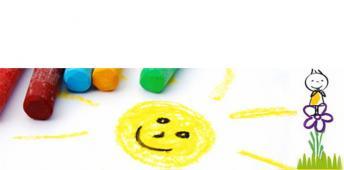 Ein Kinderbild zeigt eine gelbe Sonne, daneben liegen Buntstifte