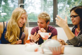 3 Schüler beim Experimentieren im Biologieunterricht