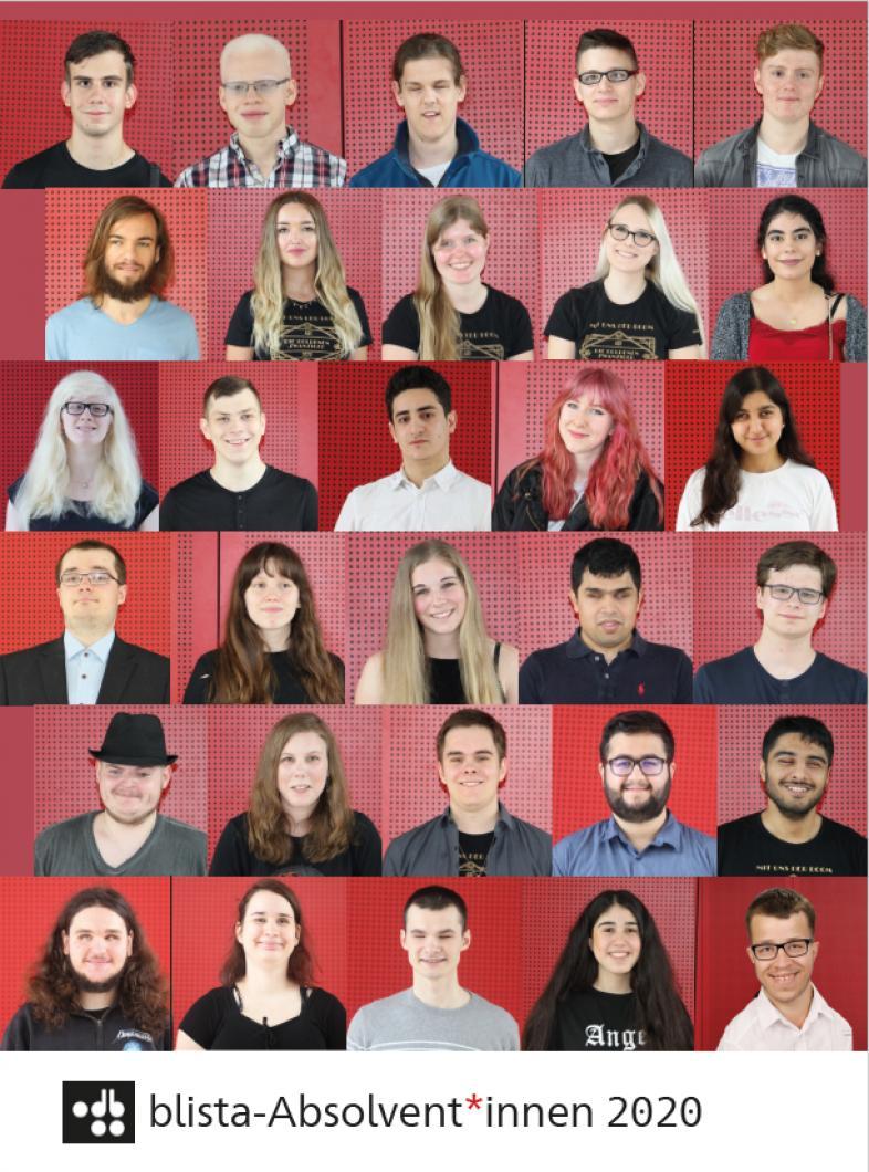 Die Porträitfotos aller Absolvent*innen sind wie zu einem Puzzle zusammengefügt