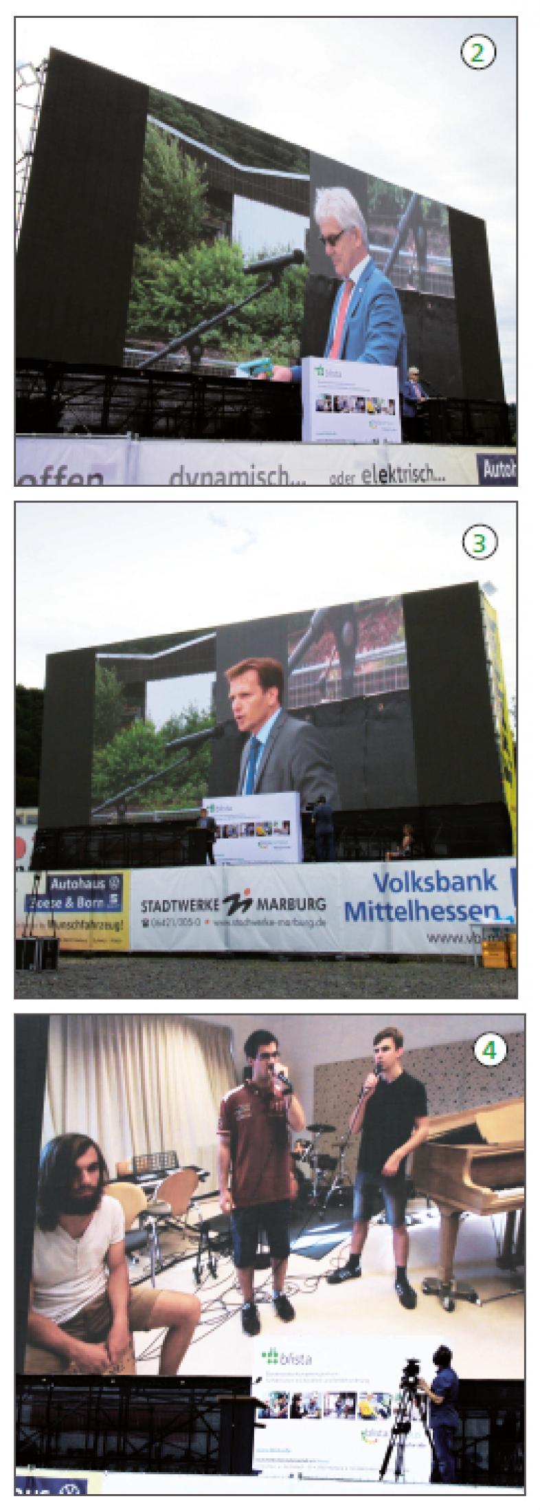 Drei Fotos zeigen wie im Text beschrieben Dirkektor Duncker bei seiner Ansprache, Schulleiter Peter Audretsch am Rednerpult und die Schülerband