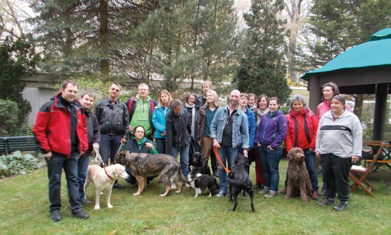 18 Personen, viele mit Hunden, stehen auf einer Waldwiese im Halbkreis zusammen