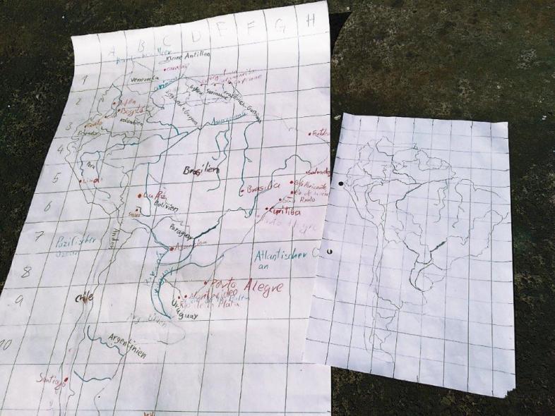 Bemalte Karte von Südamerika