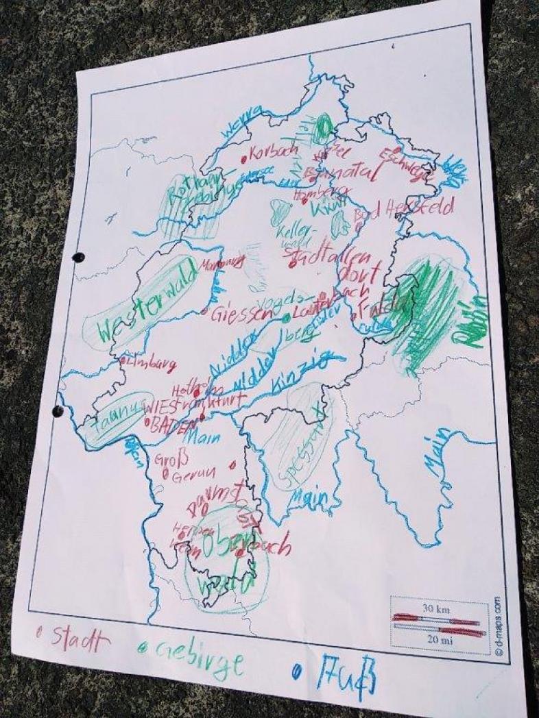 Eine gemalte Karte von Hessen