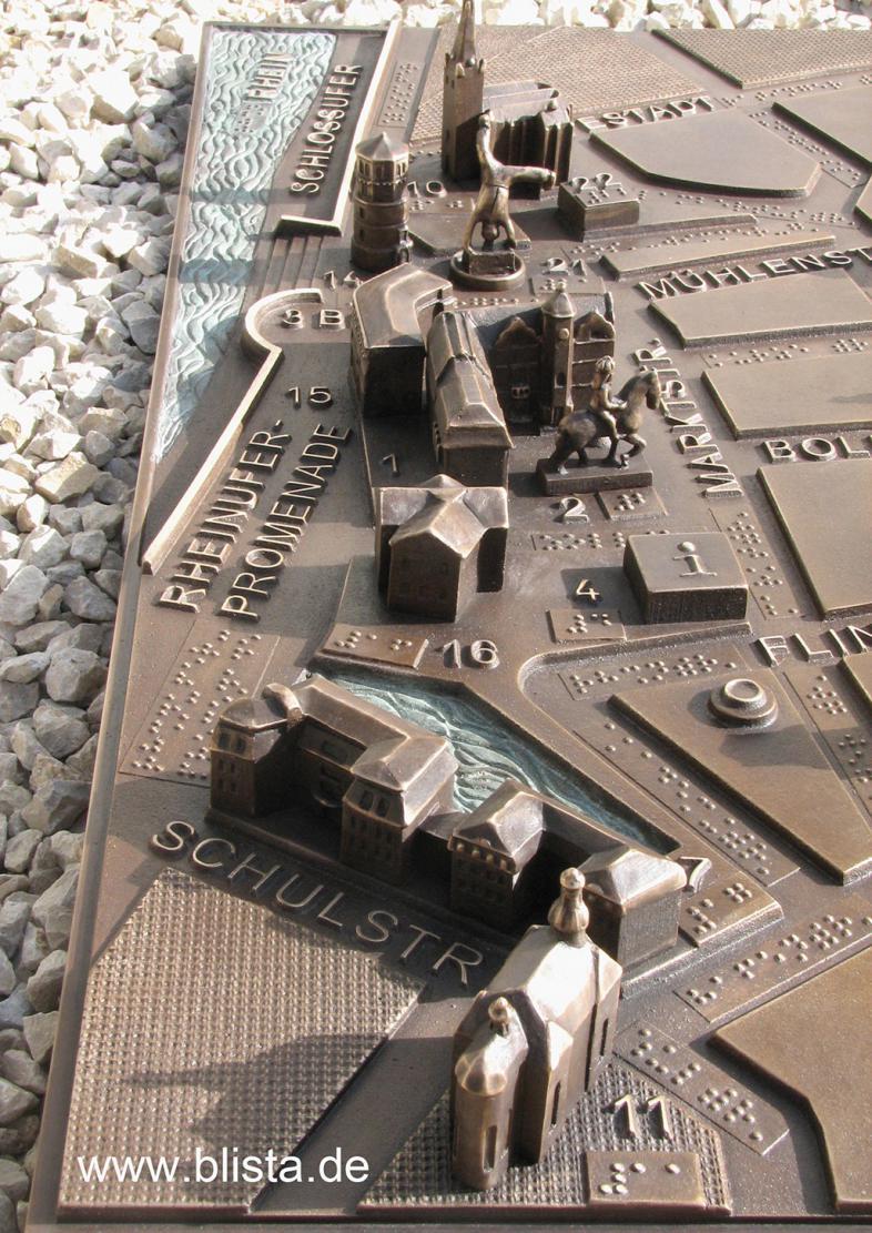 Detail Bronzestadtplan Düsseldorf