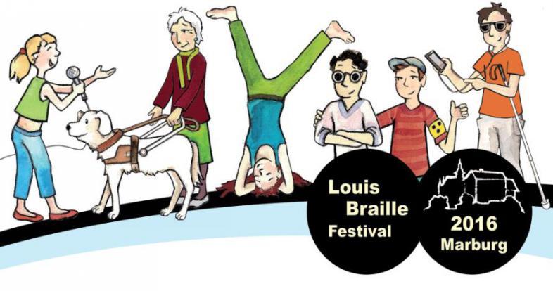 Postkartenmotiv des Louis Braille Festivals 2016