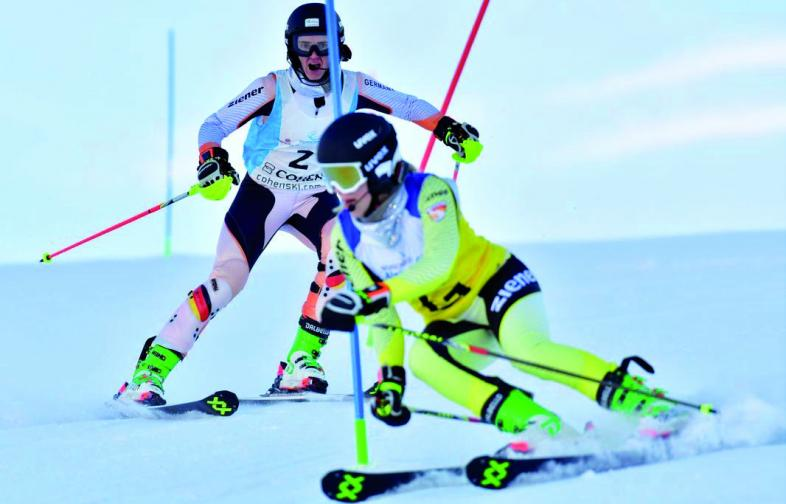 Noemi Ristau mit Guidin beim Slalomrennen