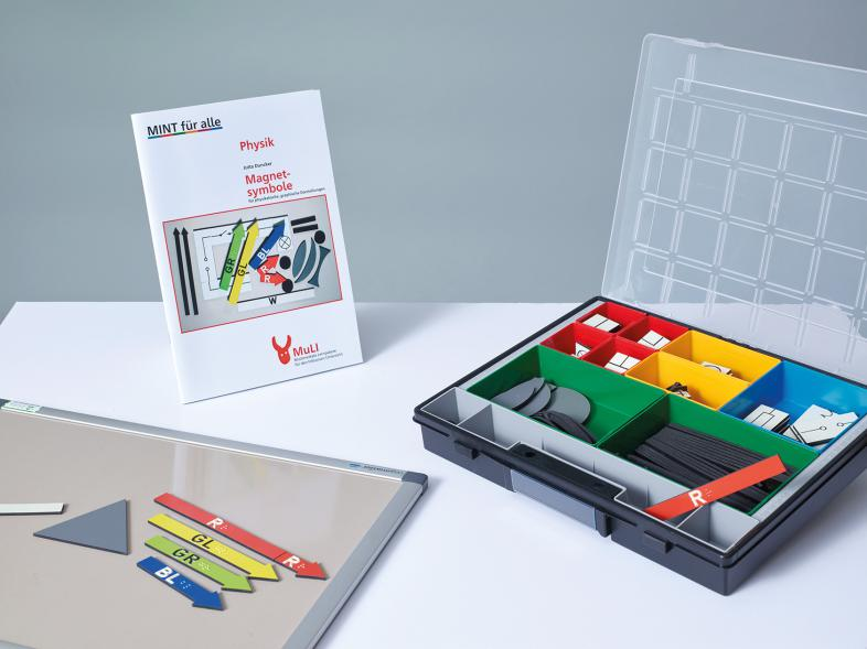 Das Lernpaket Physik mit Schwarzschriftbroschüre, Magnetsymbolen und Tafel