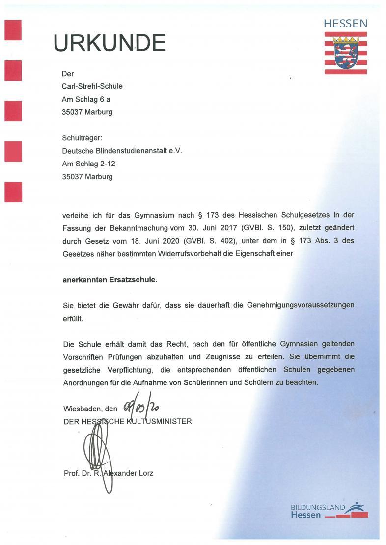 Bild der Anerkennungsurkunde des Carl-Strehl-Gymnasiums durch das Hessische Kultusministerium