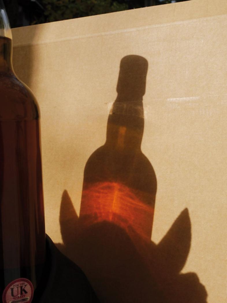 Eine Whiskyflasche im Gegenlicht. Sie sieht aus, als wüchsen aus ihrem Boden Teufelshörner.