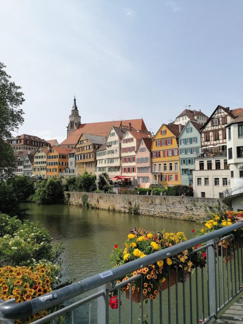 Foto von einer Neckarbrücke aus auf die bunten Fachwerkhäuser, die den Fluss in Tübingen säumen.