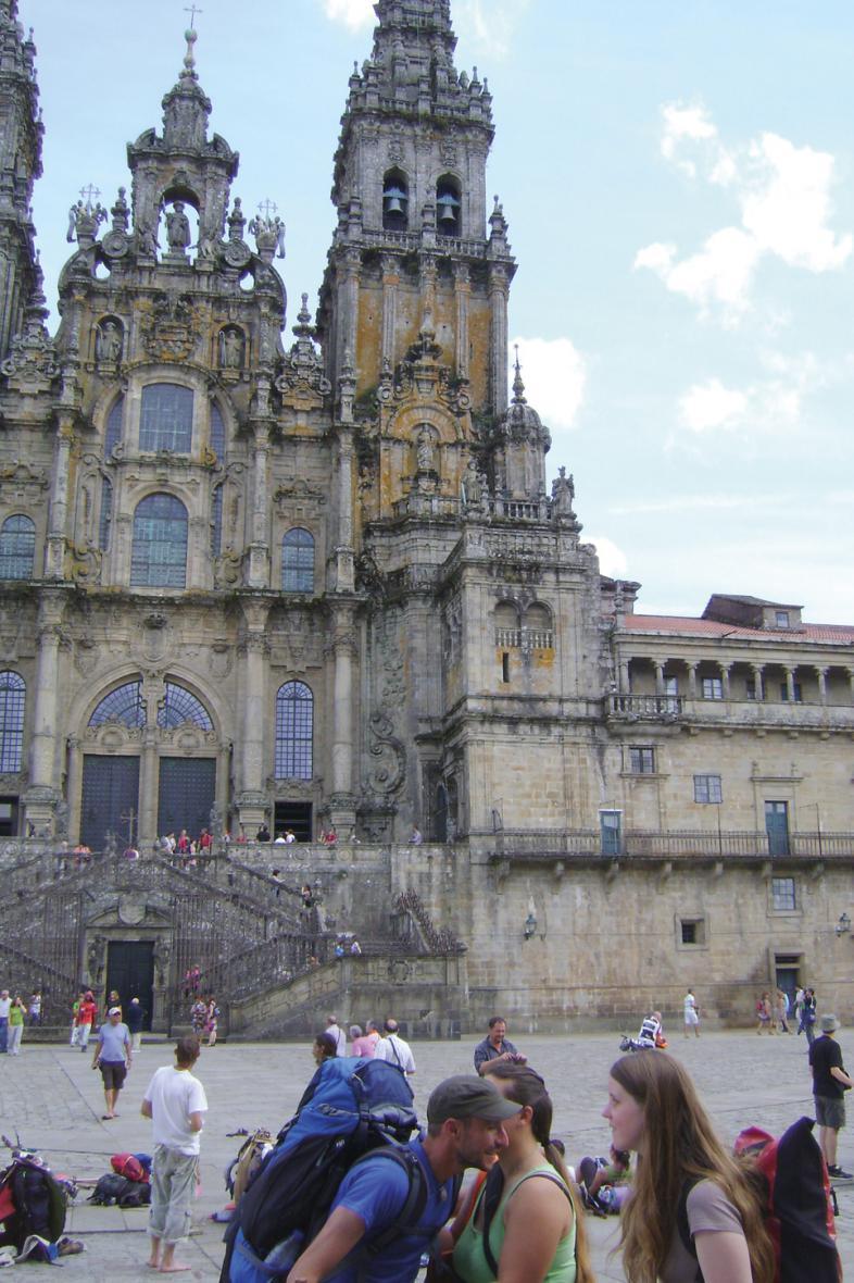 Auf dem Photo ist die imposante Kathedrale von Santiago de Compostela zu sehen