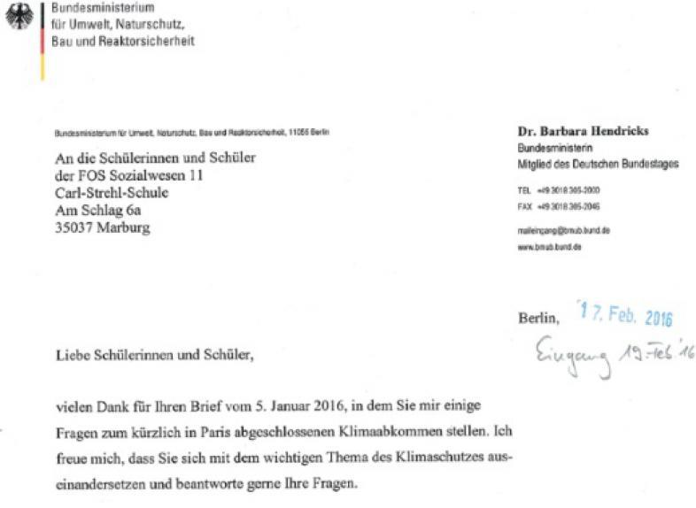 Ausschnitt des Antwortbriefes der Ministerin mit Briefkopf