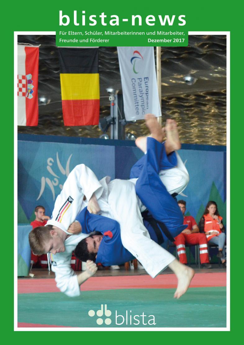 "2 Judoka im Kampf, Judoka Henry Mackney unten, in blau, siehe Bericht ""blista-Sportförderung"""