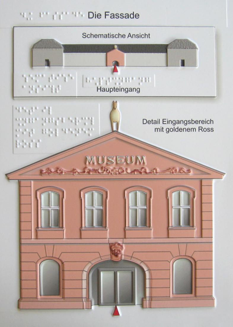 Eine taktile Abbildung zeigt den Haupteingang zum Landesmuseum in Mainz