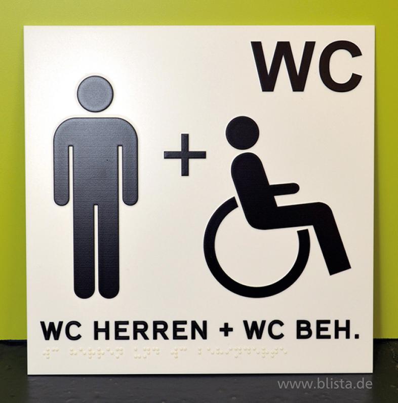 Toilettenschild für Männer mit und ohne Behinderung