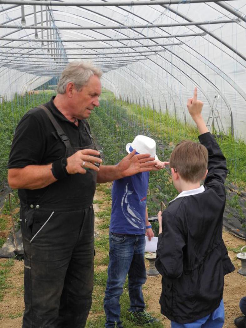 Der Bio-Bauer beantwortet Fragen im Gewächshaus