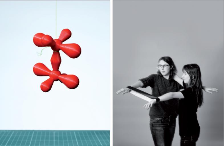 Das Foto links zeigt das 3D-Modell einer Doppelbindung. Auf dem Foto rechts werden Aspekte davon im Selbstversuch aufgegriffen.