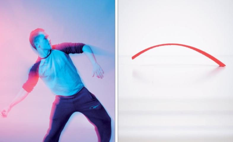 Rechts ist das 3D-Modell der Wurfparabel abgebildet, links geht's um das Erleben, das Nachvollziehen der Bewegung.