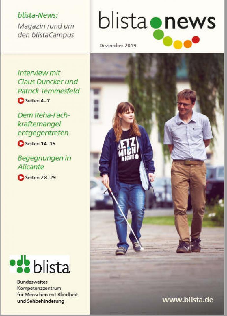 Das Titelbild der blista-News-Ausgabe2019-03 zeigt eine Schülerin mit ihrem O&M-Lehrer