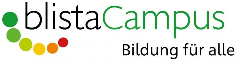 blistaCampus-Logo mit bunten Punkten und dem Claim Bildung für alle