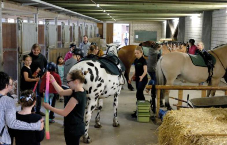 Zahlreiche Helfer und Besucher im Reitstall der blista
