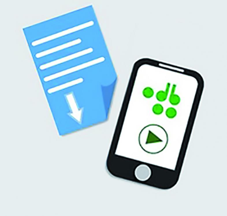 grafische Darstellung eines Textes mit Pfeil in ein Smartphone