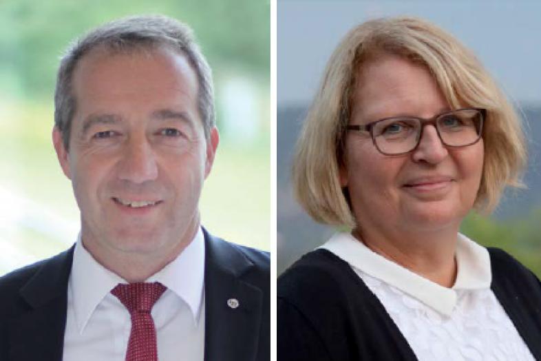 Portraitfotos der neuen VBS-Vorstandsvorsitzenden Patrick Temmesfeld und Ulrike Bauer-Murr