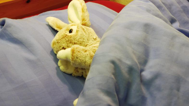 Ein Stoffhase liegt ohne seinen Besitzer in einem Bett