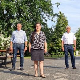 Die neue Geschäftsführerin des Zentrums für blinde und sehbehinderte Studierende (BliZ) der Technischen Hochschule Mittelhessen (THM) in Gießen, Frau Prof. Möhring mit dem Vorstand der blista
