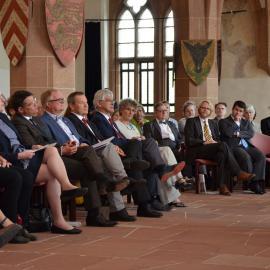In der Ausstellung blick:punkte: Staatsminister Boris Rhein und Oberbürgermeister Dr. Spieß