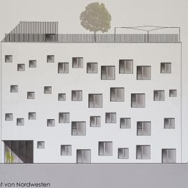 das geplante Schulgebäude hat 4 Stockwerke