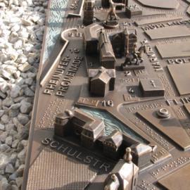 Die blista stellt taktile Pläne her - hier ein Ausschnitt des Modells der Düsseldorfer Altstadt