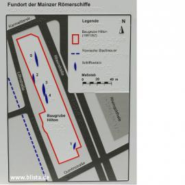 Lageplan der 5 Fundorte in Baugrube Hilton-Hotel mit kleiner Legende