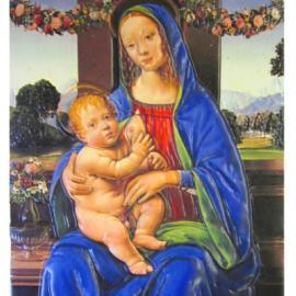 Madonna sitzend, mit einer entblößten Brust, Jesuskind auf dem Schoss haltend, Fenster im Hintergrund zeigt Blumengirlanden und Berglandschaft