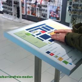 Tastende Hände an gerahmtem Modell mit Verkaufsständern im Hintergrund