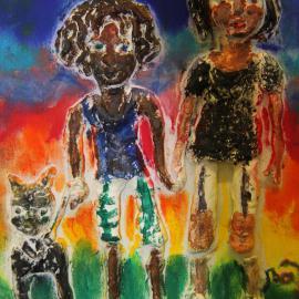 Das bunte und taktile Werk zeigt zwei Personen mit Katze