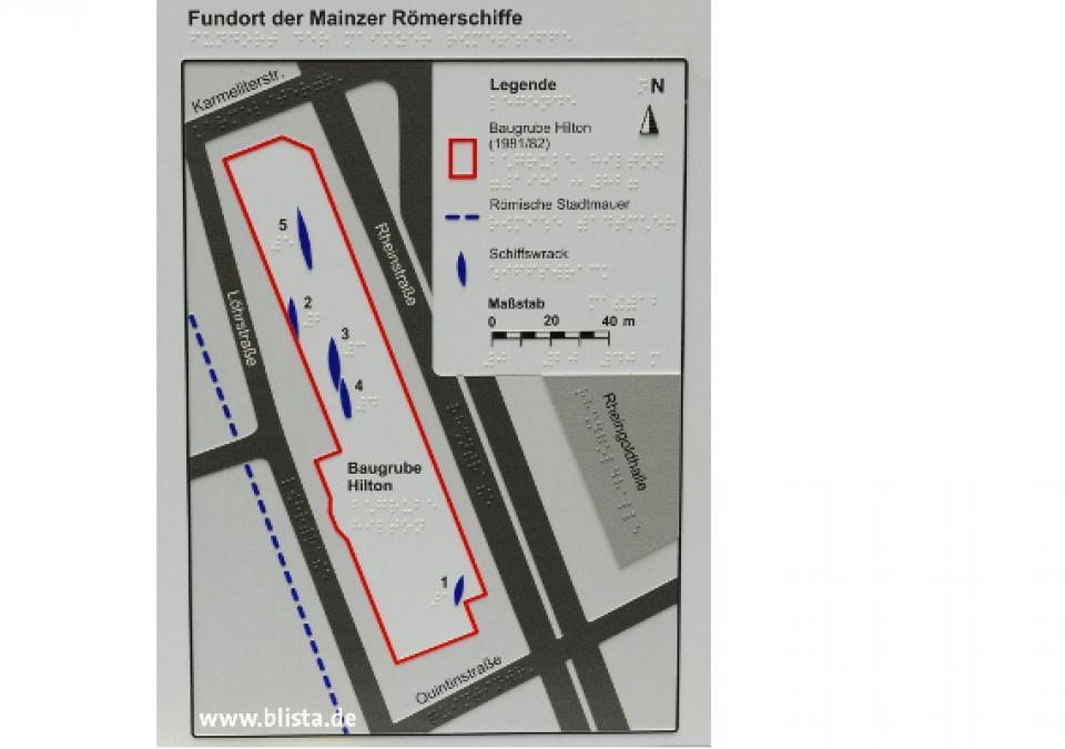 Bild 11 von 17: Lageplan der 5 Fundorte in Baugrube Hilton-Hotel mit kleiner Legende
