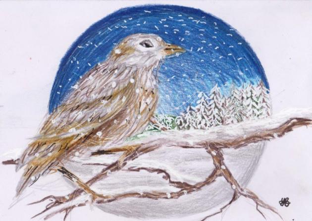 Vogel vor einer Winterlandschaft
